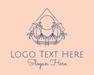 Tropical Palms Tiki Hut Logo Maker
