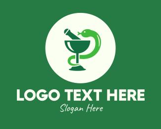 Goblet - Green Mortar &Goblet Snake logo design