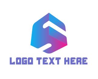 Program - Gradient S Cube logo design