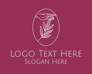 Elegant Leaf Hand  logo design