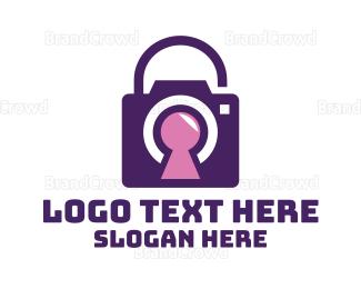 Binoculars - Purple Secure Camera logo design