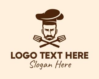 Executive Chef - Mustache Beard Chef logo design