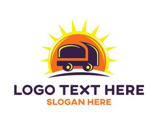 Delivery Service - Truck Sun logo design