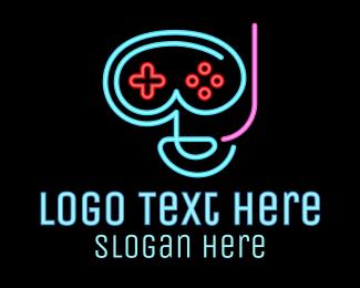 Strategy - Neon Goggle Diver Game Controller logo design