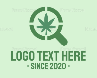Research - Magnifying Glass Cannabis logo design