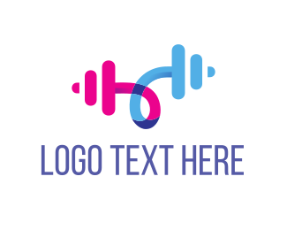 Bodybuilding - Barbell Curl logo design