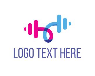 Weights - Barbell Curl logo design