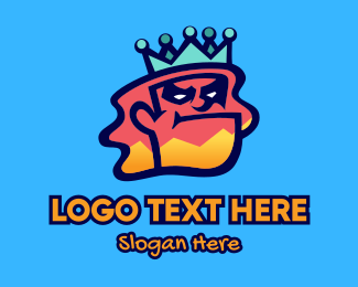 Street Wear - Colorful Angry King Doodle  logo design