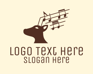 Country Music - Musical Deer Animal logo design
