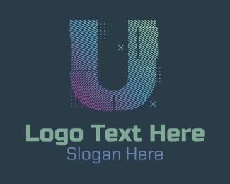 J - Modern Glitch Letter U logo design