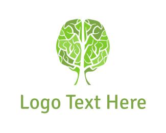 Knowledge - Brain Tree logo design
