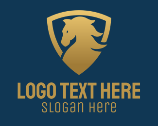 Horse Ranch - Gold Horse Emblem  logo design