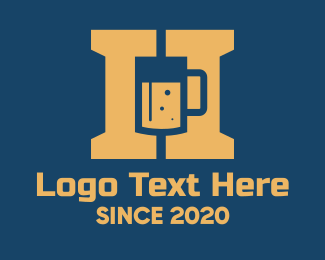 Beer Bottle - Beer Mug Letter H  logo design