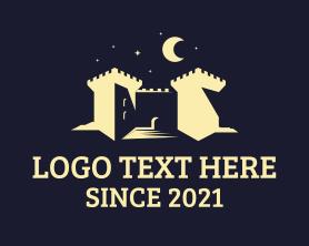 Night - Night Castle Fortress logo design