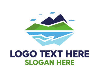 Hiking - Geometric Sea Mountain logo design