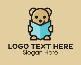 Teddy - Reading Teddy Bear  logo design