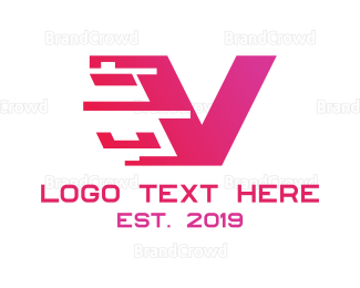 Cryptocurrency - Digital Pink V logo design