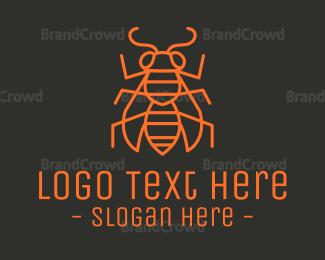 Pest - Minimalist Wasp Outline logo design