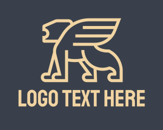 Winged - Monoline Winged Lion logo design