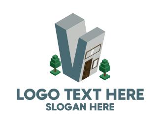 Windows - Modern Building Letter V logo design