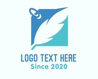 Online Seller - Blue Feather Label logo design