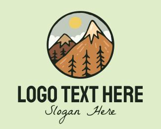 Explorer - Forest Mountain Peak logo design