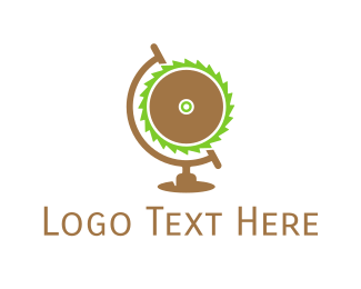 Saw - Industrial Wood Saw Globe logo design