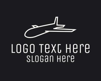 Pilot Training - Minimalist White Plane logo design