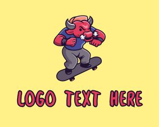 Grumpy - Raging Bull Skater logo design