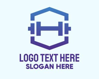 Trainer - Dumbbell Gym Fitness Hexagon logo design
