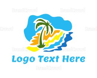Cuba - Beach Palm logo design