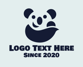 Zoo Animal - Happy Panda Bear logo design