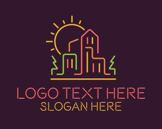 Scene - Neon Suburban Scene logo design
