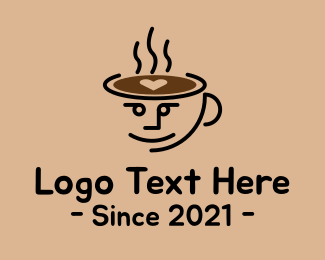 Brewed - Cute Coffee Cup Face logo design