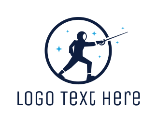 Sword - Round Blue Fencer logo design