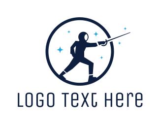 Sword - Round Blue Fencer logo design