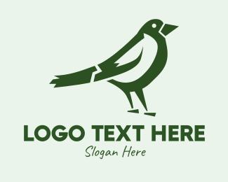 Songbird - Green Sparrow Bird  logo design