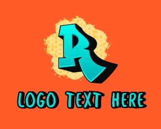 Street Wear - Street Graffiti Letter R  logo design