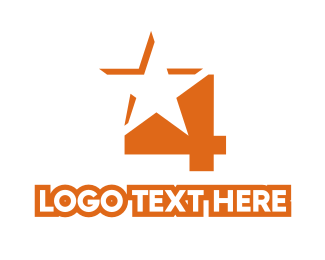 Shooting Star - Orange Star Number 4 logo design