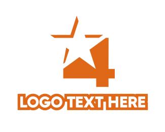 Tv Channel - Orange Star Number 4 logo design