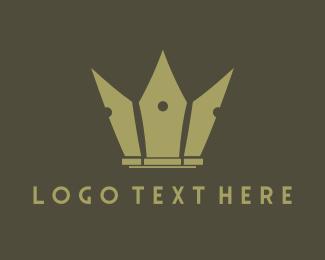 Crest - Pen Crown logo design