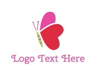 Cute Heart Butterfly Logo