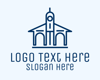 School - Blue University Building logo design