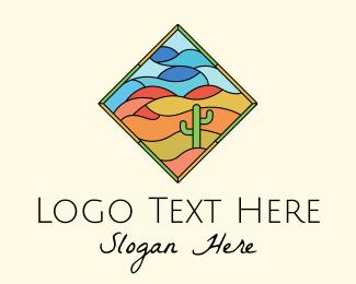 Dune - Desert Cactus Stained Glass logo design