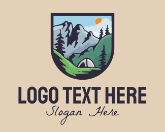 Backpack - Outdoor Camping Campsite Tent logo design