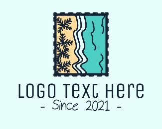 Letter - Beach Post Stamp logo design