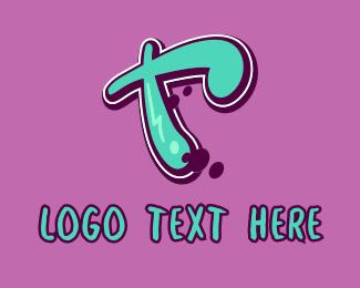 Mural - Modern Graffiti Letter T logo design