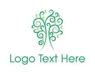 Illustrative - Curly Green Tree logo design