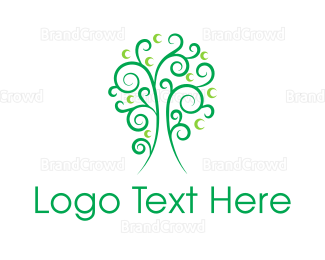 Cherry Tree - Curly Green Tree logo design