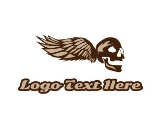 Corps - Vintage Skull Wing logo design